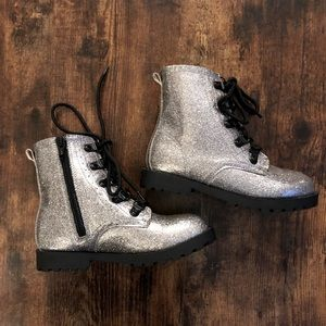 Kids Silver Glitter Combat Boots size 12